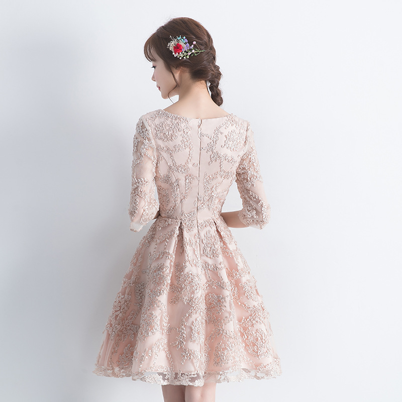 Wedding Small Formal Dress 2019 New Style Korean-style Short Long Sleeve Princess Party Birthday Party Banquet Formal Dress