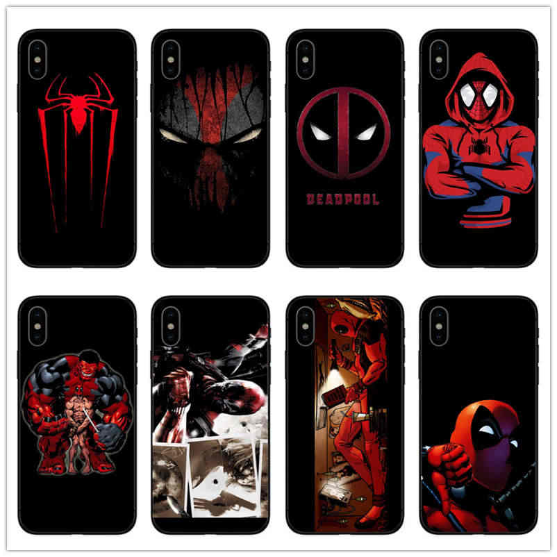 Comic Marvel Deadpool Spiderman black TPU soft silicon movie cover phone case For IPhone 6 6s 7 8 PLUS 5 5s SE X XR XS MAX coque