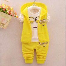 Ensemble de vêtements pour bébés filles et garçons, 3 pièces, gilet + pantalon, mignon/nouveau-né, tendance, printemps