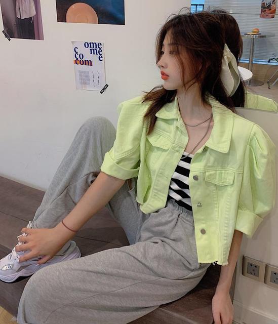 Women Denim Jacket Summer Autumn short Jeans Coat Casual Korea style Streetwear Female Puff-Sleeve Jeans Coat