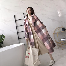 Winter Coat Women 100% Wool Coat Women Korean Plaid Double Sided Long Jacket for Women Clothes 2020 Casaco XW006 YY955(China)