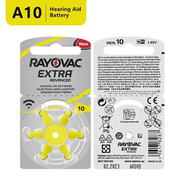 60 PCS Zinc Air Rayovac Extra Performance Hearing Aid Batteries A10 10A 10 PR70 Hearing Aid Battery A10 Free Shipping