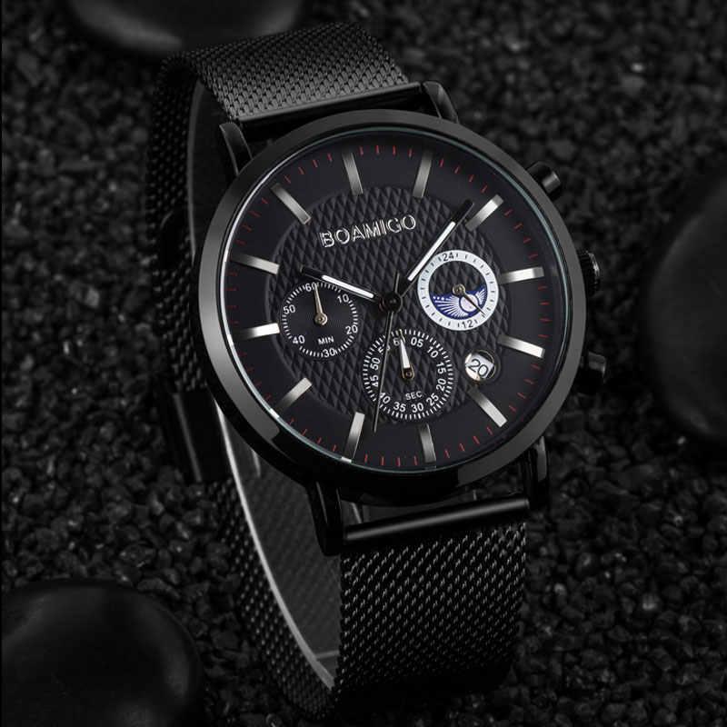 Relojes para hombre BOAMIGO relojes de cuarzo a prueba de agua para hombres de negocios reloj de lujo de marca