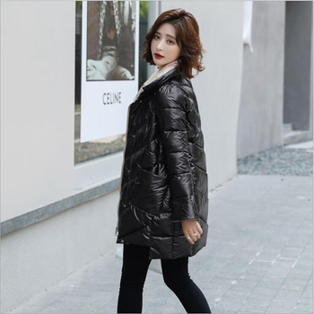 Stand-up collar padded down cotton women jacket shiny and self-cultivating fashion irregular bread clothing winter women jacket цена 2017