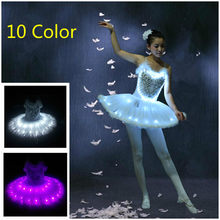 plus size Ballet Dance Swan Lake LED Layered Dress Tutu Bubble Skirt Underskirt Girls' Kid's Women's Tulle Stage Costume(China)