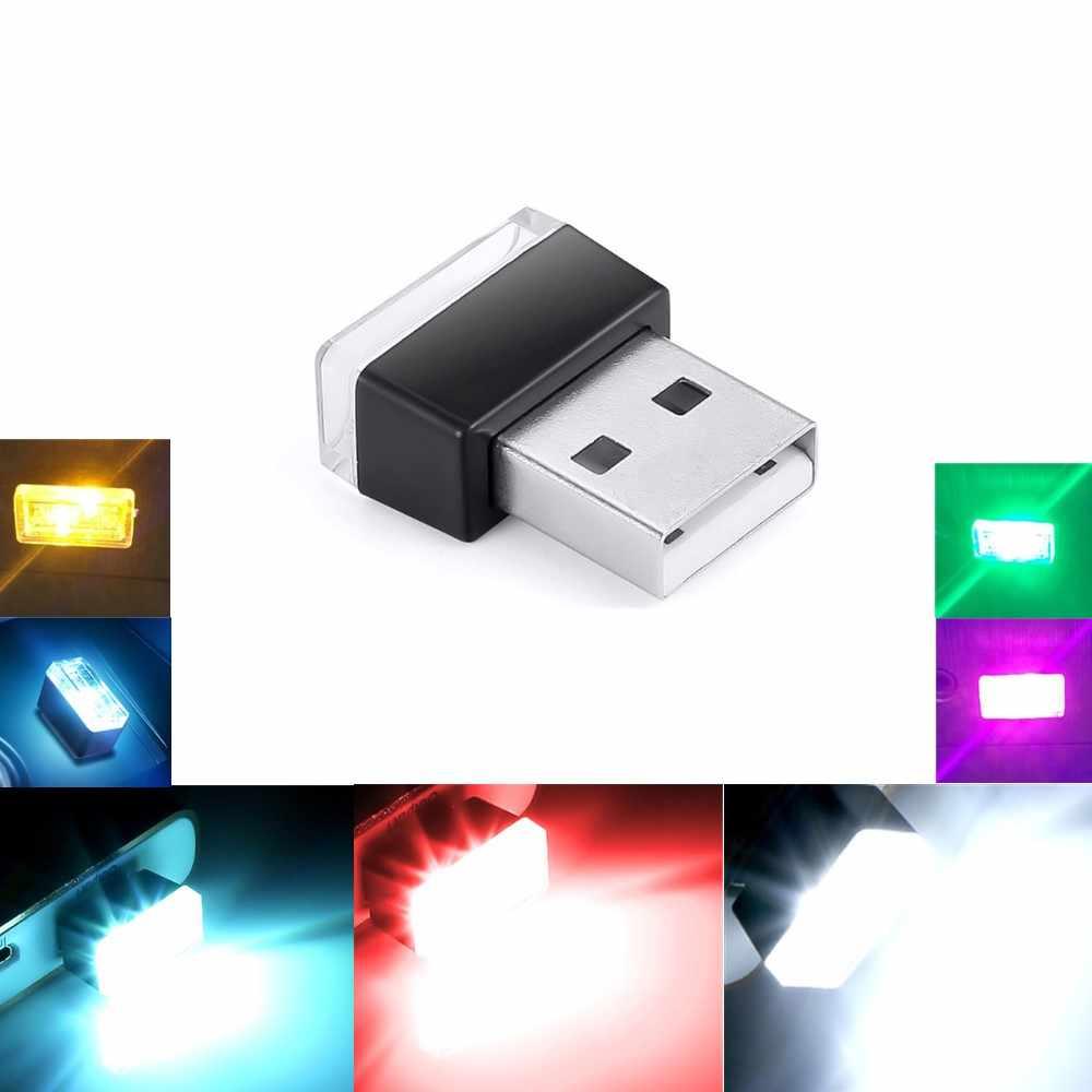 Mini LED Luz de coche Auto Interior USB atmósfera luz Plug and Play decoración lámpara iluminación de emergencia accesorios de coche