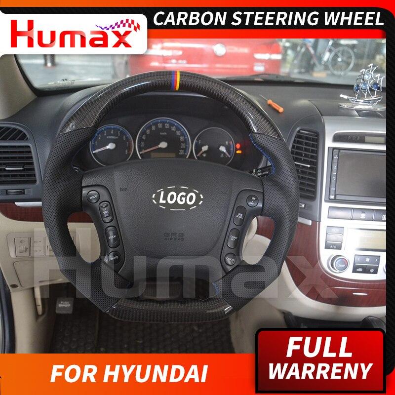 Véritable volant en fibre de carbone pour Hyundai Santa Fe voiture tuning accessoires de voiture style personnalisé accessoires auto tuning pièces