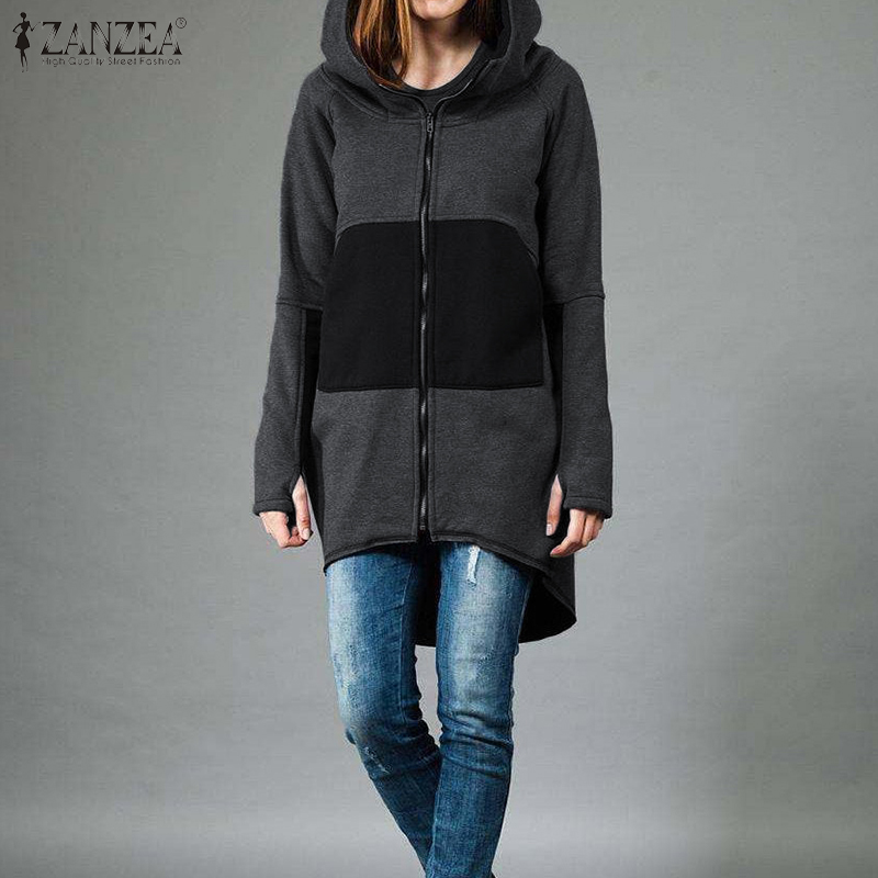 Women Sweatshirt Ladies Hoody ZANZEA 2020 Fashion Female Casual Long Sleeve Spring Autumn Outwear Zip Patchwork Coats Jackets 7