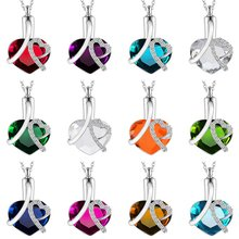 New Arrival Stainless Steel Love Cremation Memorial Ashes Birthstone Pendant Necklace Openable Perfume Bottle Pendant Necklace(China)