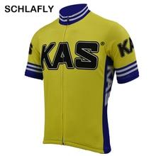 Jersey-Team Cycling Kas Schlafly Retro Bike-Wear Short-Sleeve Summer Yellow Man Old-Style