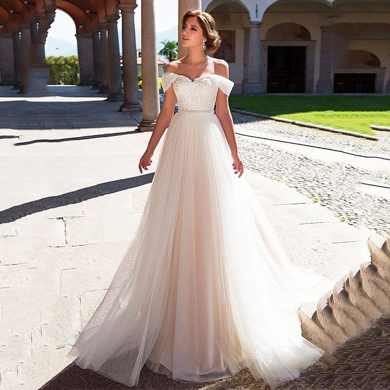 Wedding Dress 2020 A Line Tulle Off The Shoulder Long Bridal Dress Beaded Lace Appliques Princess Wedding Gowns Trouwjurk