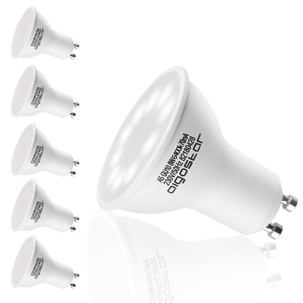 Aigostar - LED Bulb 8W GU10, 6400K, 600lumen, 8W Equivalent To 60W, CRI≥80Ra,120-160 Degree Beam Angle,25000 Hours,pack Of Five