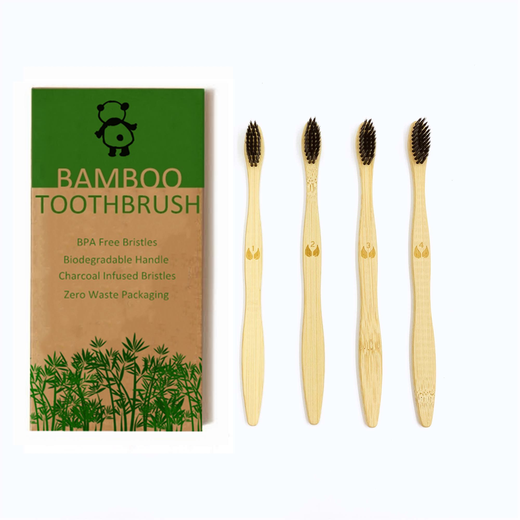 Zero Waste Travel Toothbrush Eco Friendly Bristle Toothbrush Natural Biodegradable Bamboo Toothbrushes