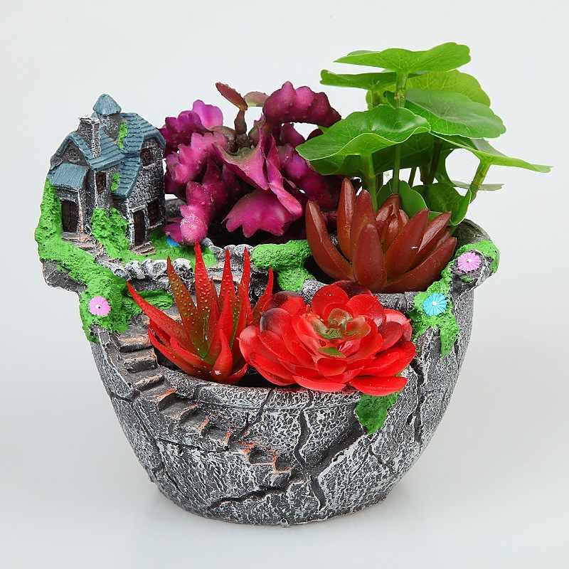 北欧クリエイティブラウンドマルチ肉小花ポット多層肉-ポット多層肉植物ミニ -漫画樹脂植木鉢