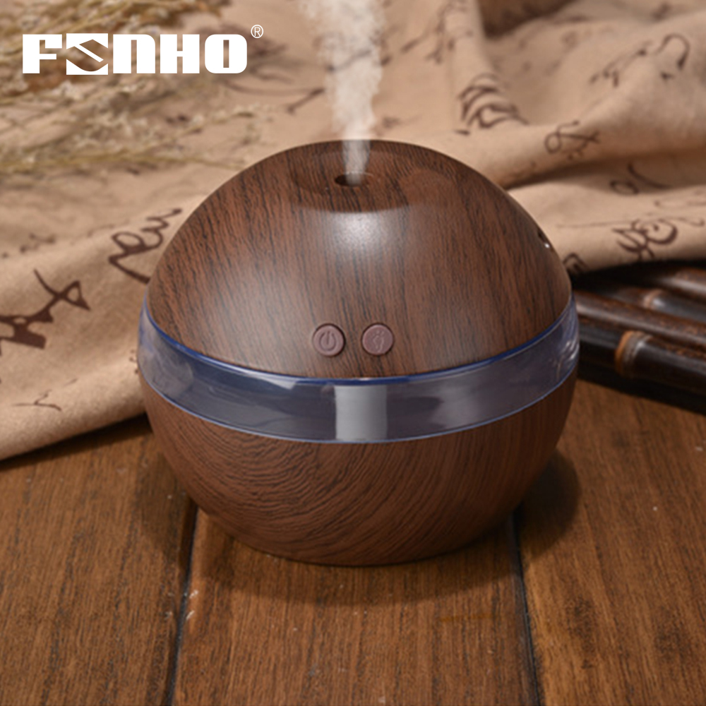 FUNHO 300ml Air Humidifier Aroma Essential Oil Diffuser Ultrasonic Wood Grain USB Mini Mist Maker LED Night Light For Car Home