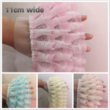 11cm Wide Beautiful Multi-color Multi-layer Chiffon Mesh Lace Trim DIY Handmade Dress Skirt Cuffs Sewing Production Accessories