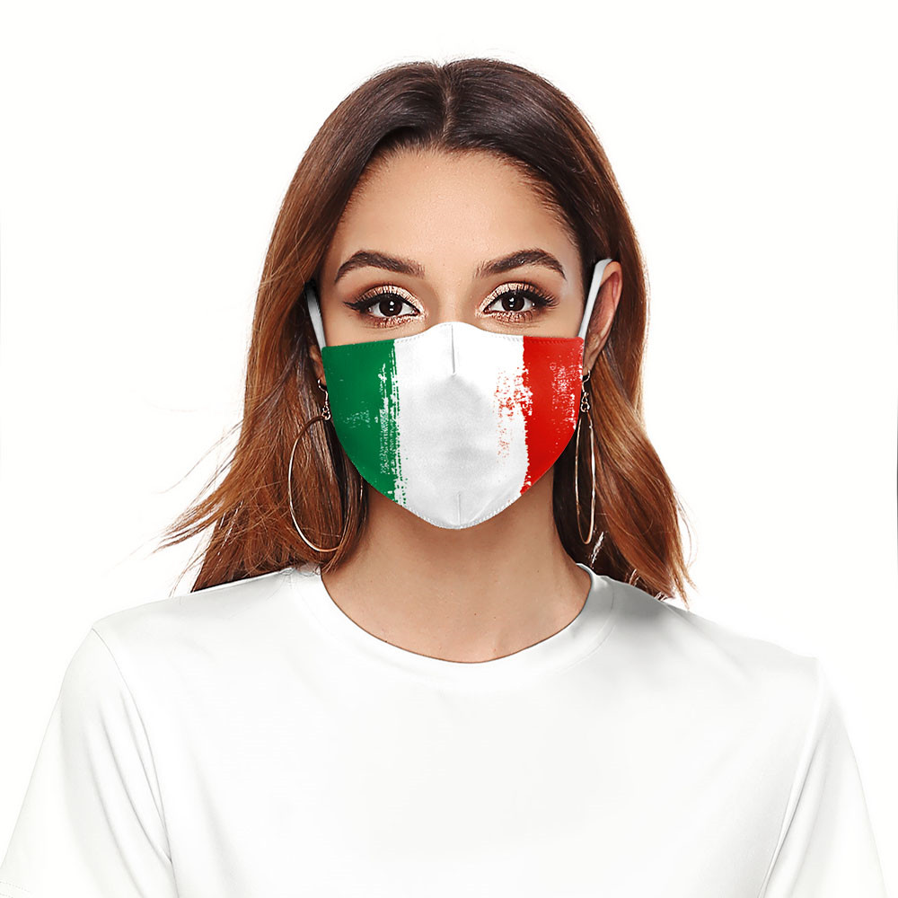 Dust Proof Dust Protective Print Washable Fabric Mask Mouth Mask Italy Flag Filter Print Reusable Face Mask Adjustable PM2.5