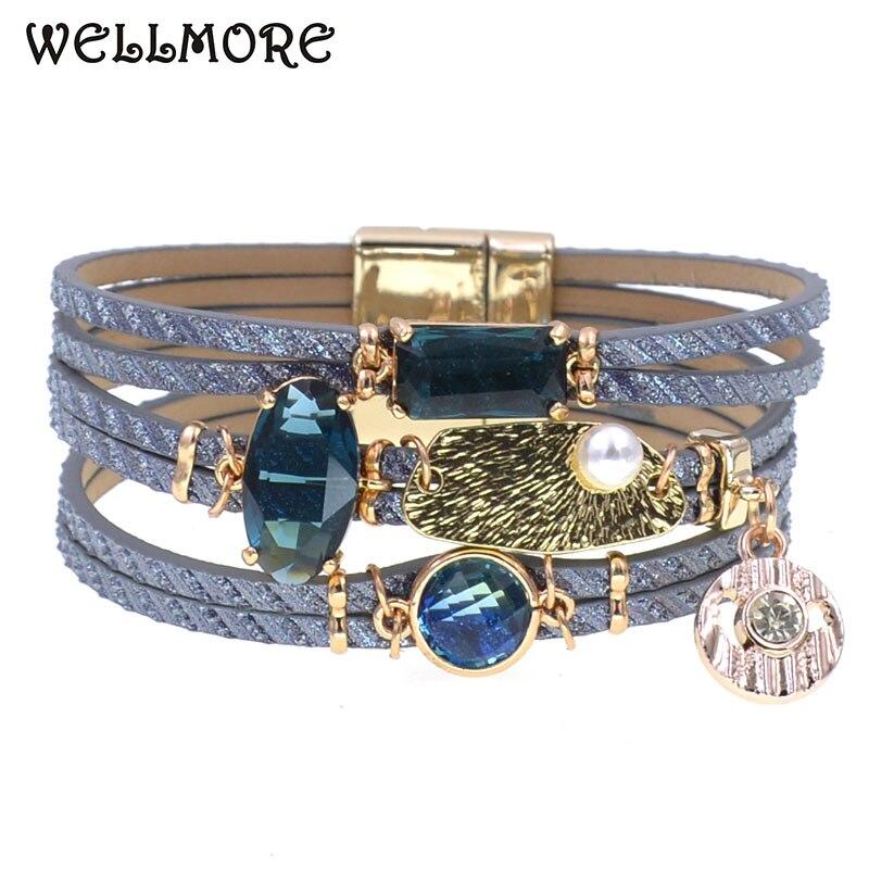 WELLMORE women bracelet glass leather bracelets for women charm bracelet fashion female jewelry wholesale dropshipping