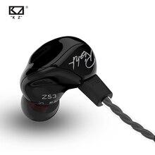 Kz zs3 1dd dinâmico fones de ouvido no ouvido monitores áudio cancelamento ruído alta fidelidade música esportes fones com microfone