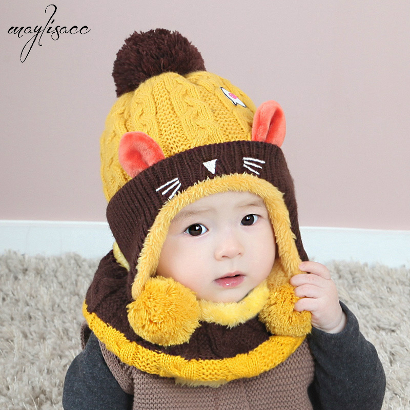 Maylisacc 1-4 Years Old Kids Baby Hat Scarf Set Autumn&winter Acrylic Cute Cat Children's  Knitted Hat Scarf Two-piece Set