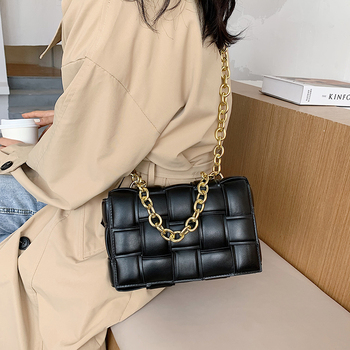 Women Crossbody Bag Weave Flap Bags For Women 2020 Quality Leather Thick Chain Shoulder Messenger Bags Female Handbag And Purse 5
