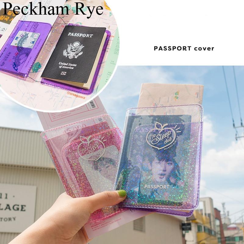 Bentoy Milkjoy Shining Cute Passport Cover Case Pvc Clear Wallet Girls Card Passport Holder Waterproof Women Travel Card Bag
