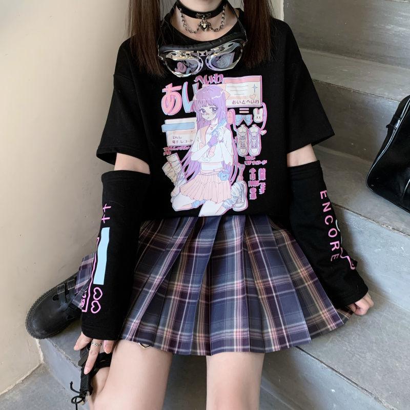 Короткая футболка с героями из японского аниме «Футболка топ с длинными рукавами и застежкой-молнией для удаления футболка JK девушка одежд...