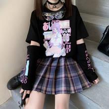 Japonês anime t camisa de manga longa superior zíper remoção t jk menina bonito roupas algodão tshirt harajuku dos desenhos animados impresso topos