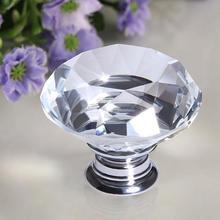 40 мм прозрачный роскошный Прозрачный кристаллический алмаз Стекло Стразы дверная ручка с винтами шкаф