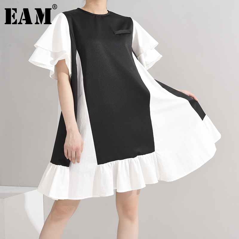 [EAM] Women Black Ruffles Split Midi Dress New Round Neck Short Sleeve Loose Fit Fashion Tide Spring Summer 2020 1U49501
