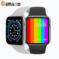 IWO-reloj inteligente W46 para hombre y mujer, pulsera completamente táctil con Bluetooth, llamadas, para Android IOS, Serie 6, 12 Pro 13, 2021