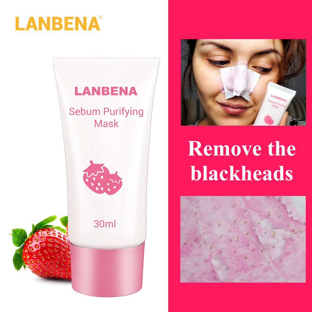 LANBENA Skin Care Blackhead Remover Mask Strawberry Peel Off Black Mask Acne Treatment Cream Deep Cleansing Shrink Pores Beauty