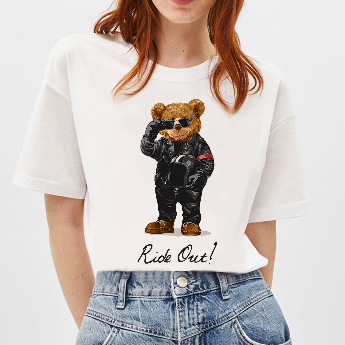 BLINGPAW Graphic Tees Teddy Bear Ride Out Letter Print T-shirt White Cotton Unisex Top&Tees Summer Custom Tee Shirts Tops