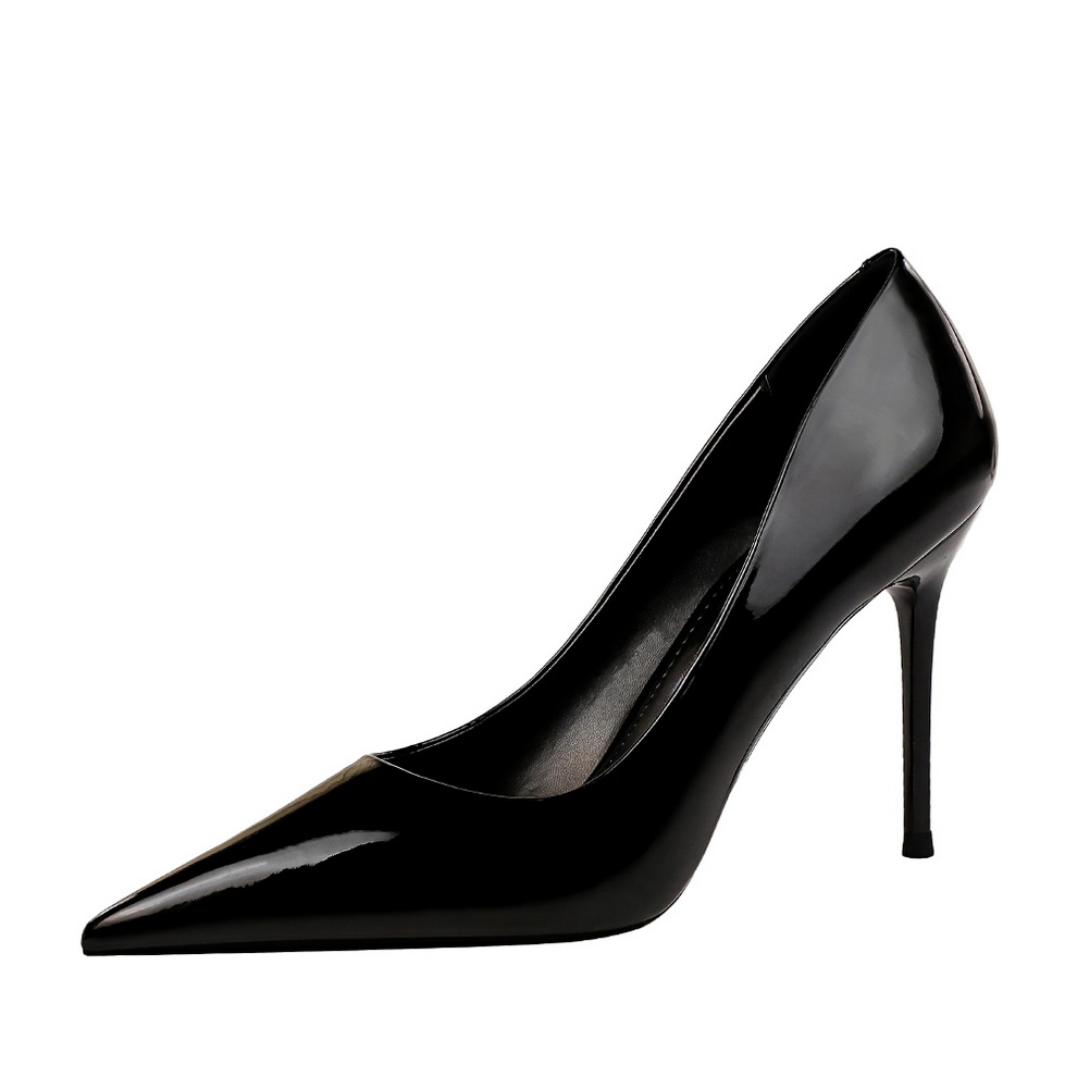 Women Pumps Brand High Heels Black Patent Leather Pointed Toe <font><b>Sexy</b></font> Stiletto <font><b>Shoes</b></font> Woman Ladies Plus Big <font><b>Size</b></font> <font><b>11</b></font> 12 image