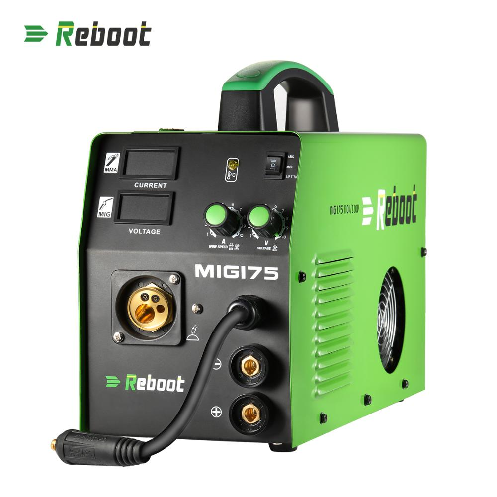 Reboot MMA MAG MIG Welder MIG-175 Flux Core Wire And Solid Wire IGBT Inverter Welding Machine  Euro Plug  Gas/Gasless Welder