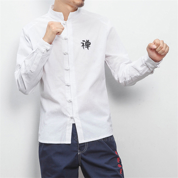 Men Chinese Top Hanfu Linen Emboridery Shirts 2020 Vintage Kungfu Wu Tang Clan Full Sleeve Traditional Chinese Clothing For Men tanie i dobre opinie Pościel Suknem