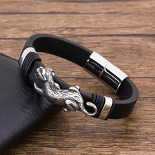 Fashion Charm leopard Stainless Steel Punk  Leather Men's 'Bracelet Black Braided Wholesale Accessories Jewelry Bangles