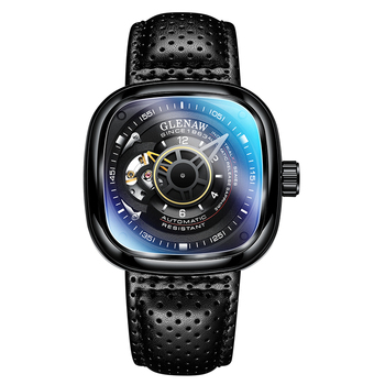 Glenaw Design Brand 2021 Men Hollow Automatic Black Mechanical Watch GMT  Top Brand Reloj Hombre Watches Waterproof