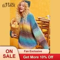 ELFSACK Rainbow Korean Stylish Oversize Sweet Sweater Women Knitted Top 2019 Autumn Winter Fashion Cute Office Ladies Sweaters