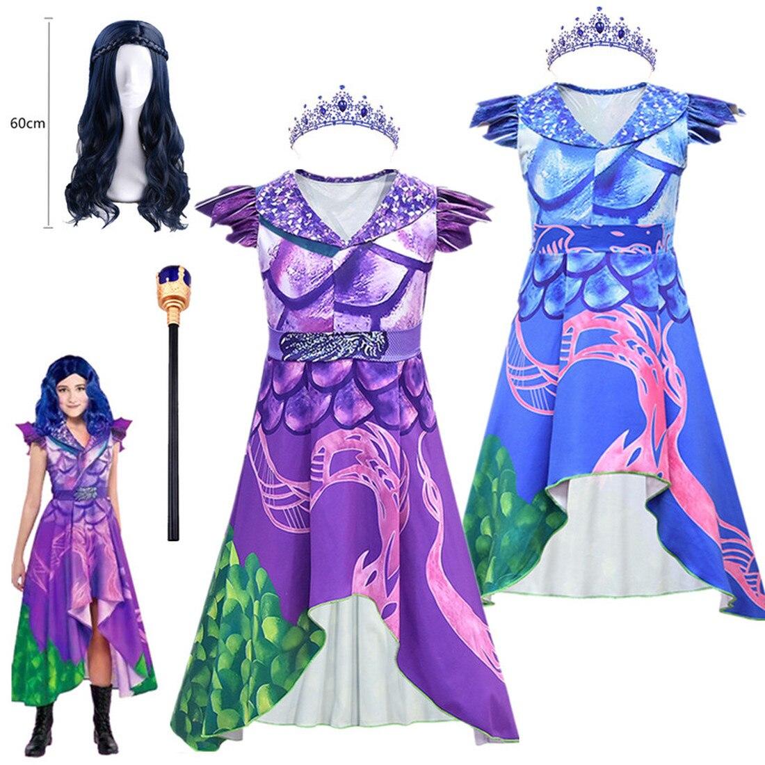 Платье для косплея Evie descendants 3 Mal, Фантастические Костюмы, летняя детская одежда для дня рождения, костюмы на Хэллоуин для детей
