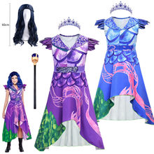 Evie descendentes 3 mal cosplay vestido fantasia trajes verão crianças fantasia festa de aniversário roupas dia das bruxas trajes para crianças