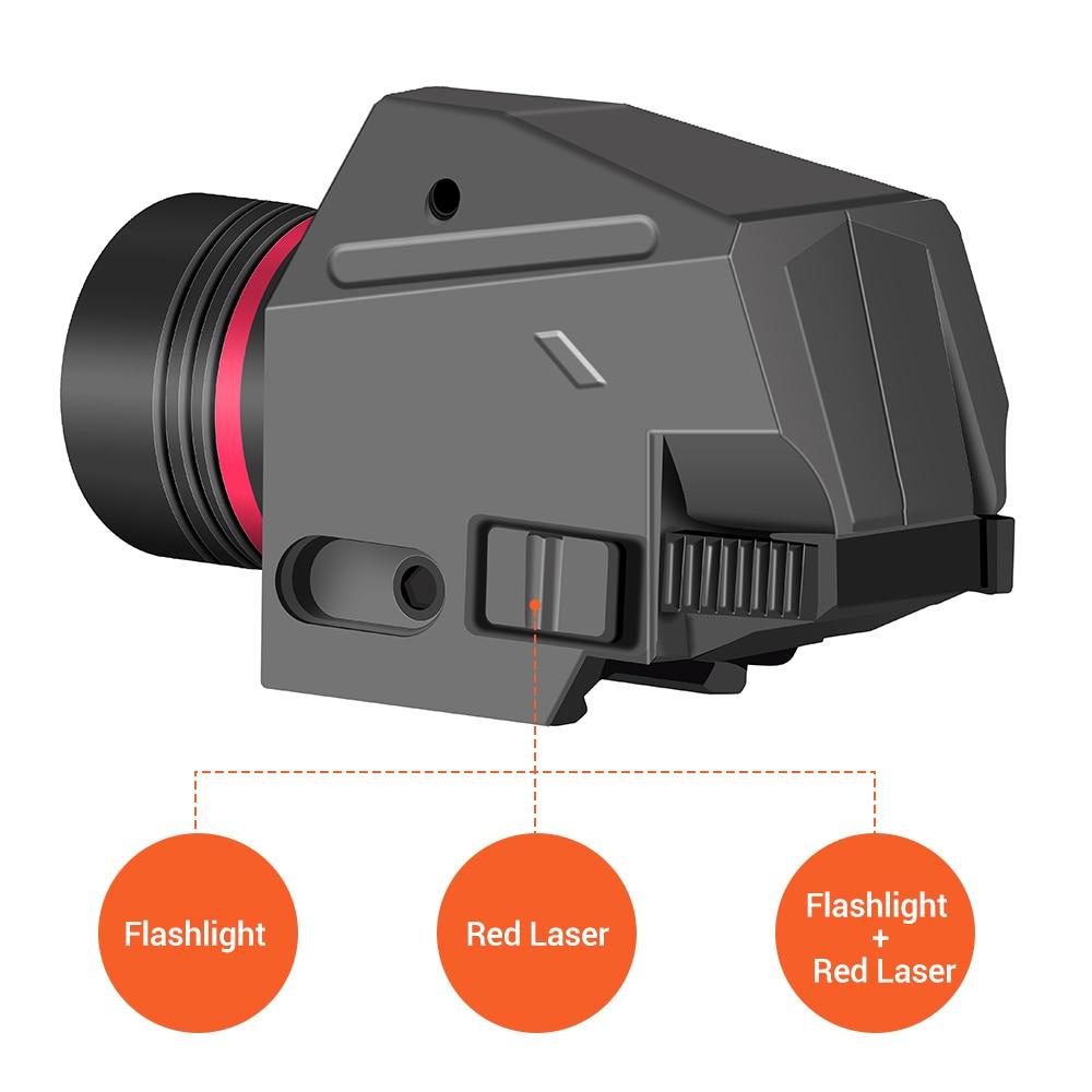 Tactical LED Weapon Gun Light Flashlight Red Dot Laser Sight Military Airsoft Pistol Gun Light for 20mm Rail Mini Pistol Gun-3