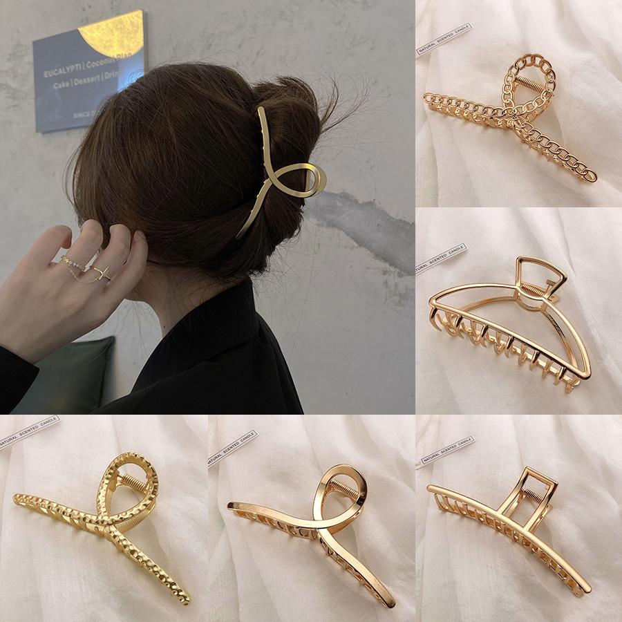 2021 Korean New Hair Claw Barrettes For Women Fashion Girl Metal Geometric Hollow Out Headwear Hair Accessories Crab Hair Clip