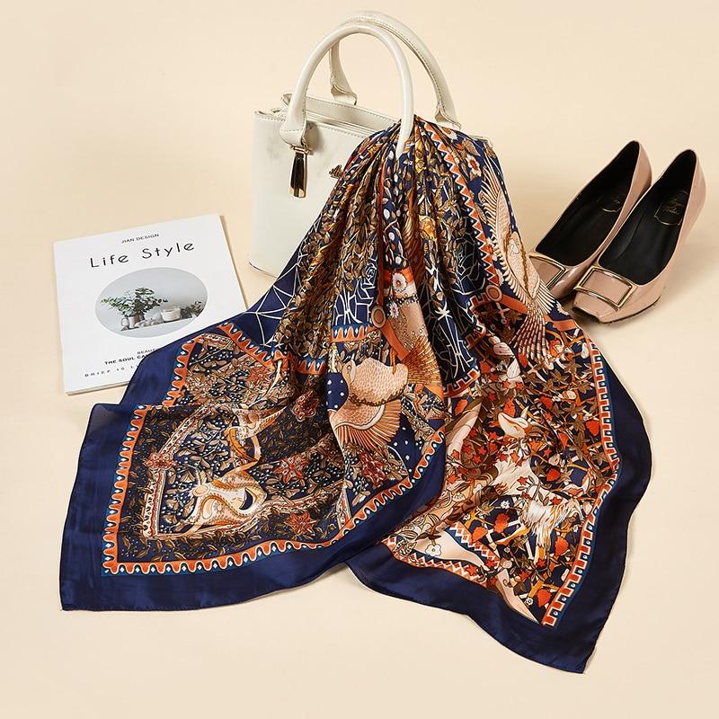 2020 New Women Square Scarf 90*90cm Cat Scarves Silk Feeling Fashion Lady Shawls Femme Hijab Dropshipping