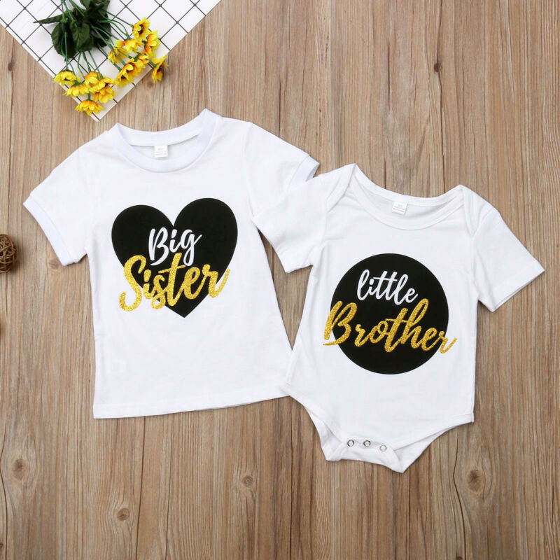 <font><b>Twins</b></font> Clothes Little Brother Kids Baby Boy Romper Bodysuit Big Sister T-<font><b>shirt</b></font> Tops One Piece Kids Outfits For Children Summer image