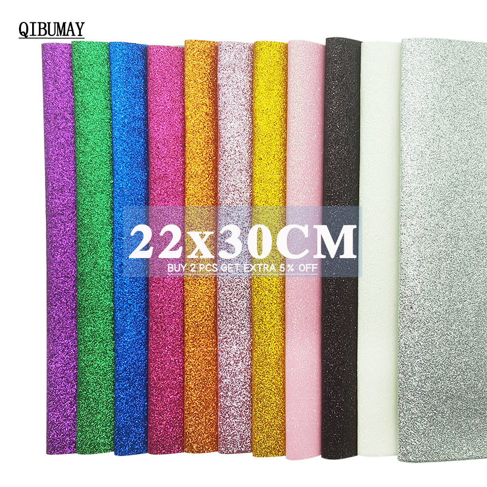 QIBUMAY 22*30cm Glitter Fabric Multi Color Thin Glitter For Bows A4 Size Golden Faux Leather Sheets DIY Hair Bow Accessories