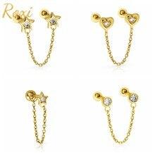 ROXI-Pendientes de plata de ley 925 con forma de corazón y estrellas bonitas, joyería de cadenas, Piercing, Pendientes inusuales