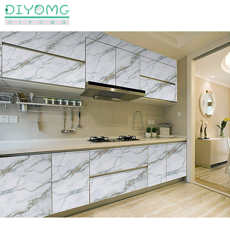 Marble Kitchen Wall Stickers PVC Waterproof Self Adhesive Wallpaper Contact Paper Bathroom Wallpaper Decor Film Furniture Sticke