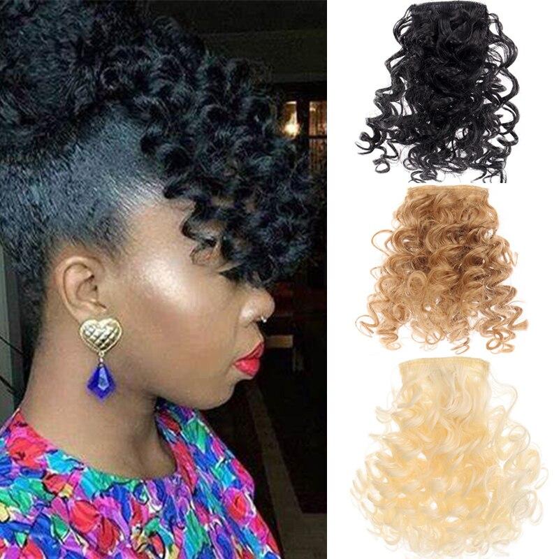 DIANQI женские афро кудрявые вьющиеся челки женская заколка для волос натуральный черный парик челка синтетические волосы для наращивания Челки из синтетики    АлиЭкспресс