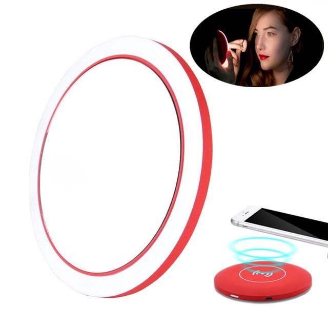 Mini Portable LED Makeup Mirror Adjustable Lighted Circular Travel Sensing Lighting Cosmetic Mirror Wireless USB Charging